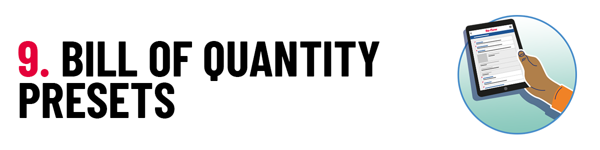 9 Bill of Quantity presets